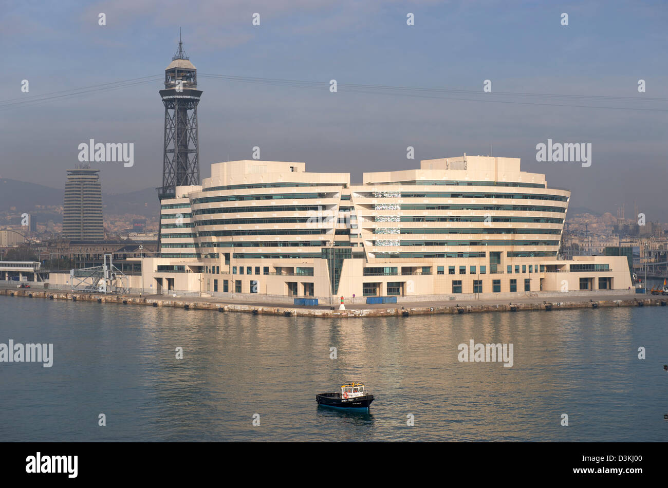 View of the World Trade Center in Barcelona looking from across the Port Stock Photo