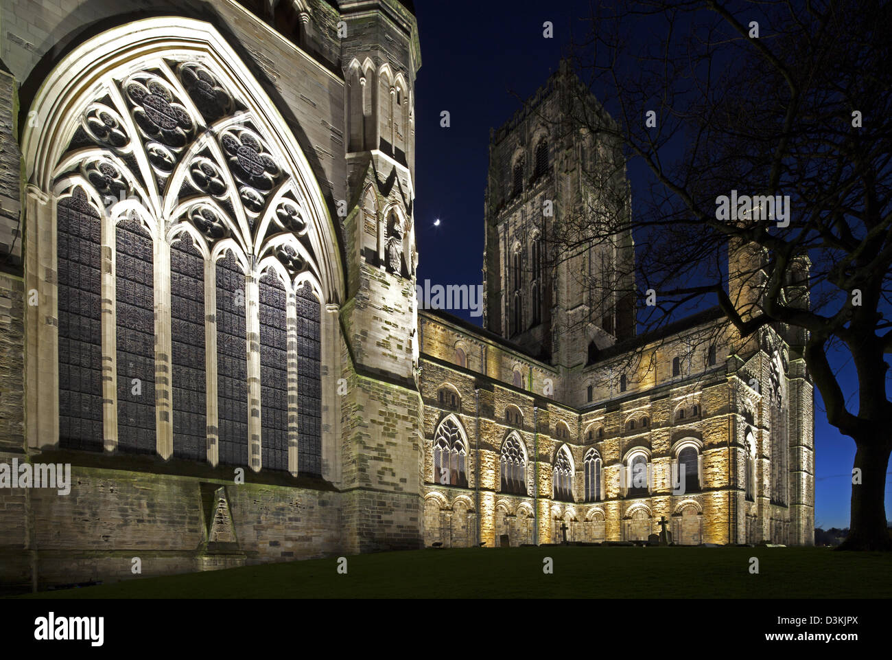 Durham Cathedral at night, Durham City, Durham - Stock Image