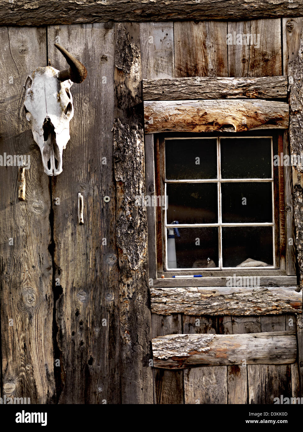 Window with school, log cabin, Montana, USA Stock Photo