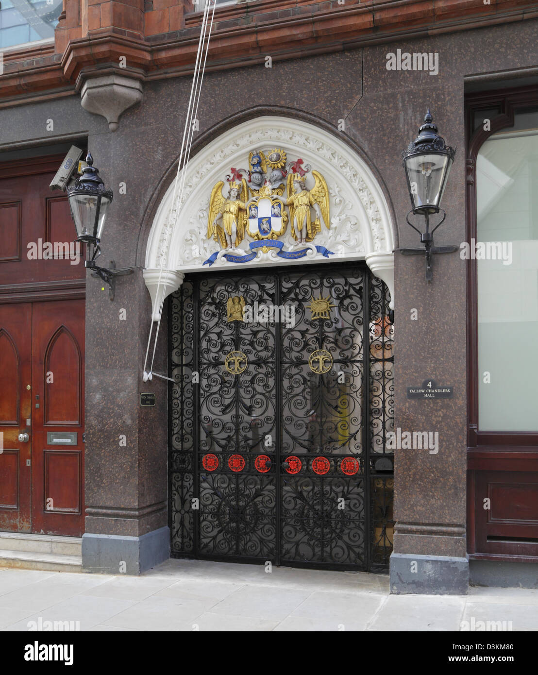Ornate gates of the Tallow Chandlers Hall, Dowgate Hill, City of London, England, UK, GB - Stock Image