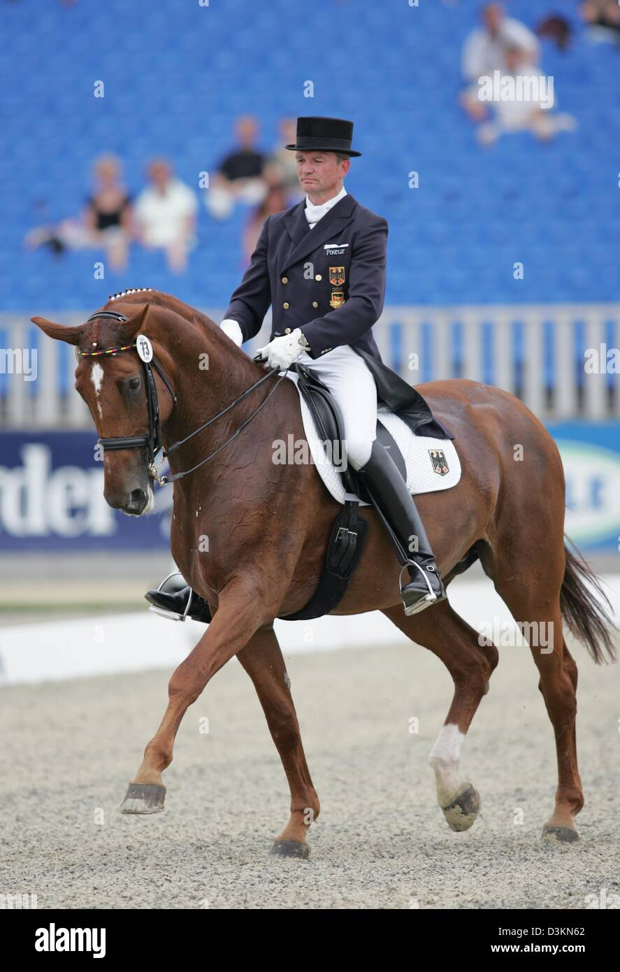 (dpa) - The picture shows German equestrian Hubertus Schmidt on Wansuela Suerte prior to his exercise at the dressage - Stock Image