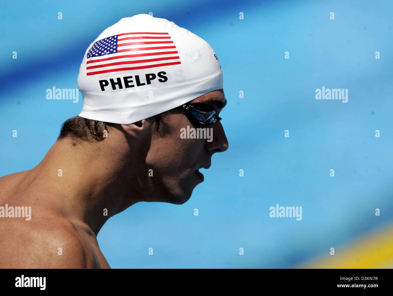 The picture shows US swimming star Michael Phelps prior to his preliminary race of the men's 100 metre butterly - Stock Image