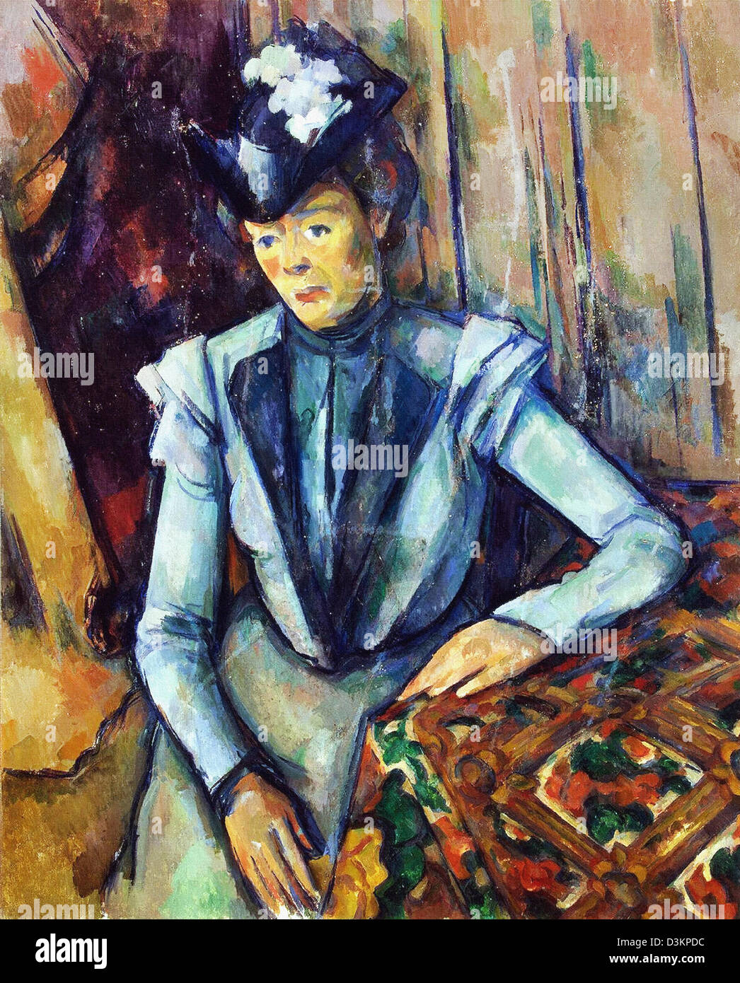 Paul Cezanne, Lady in Blue 1904 Oil on canvas. Hermitage Museum, Saint Petersburg - Stock Image