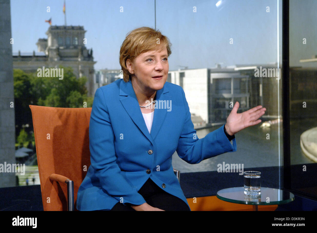 (dpa) - The picture shows Angela Merkel, chairwoman of the Christian Democratic Union (CDU) and candidate for the German chancellorship during a TV interview at the ARD studio in Berlin, Germany, Thursday 18 August 2005. German TV station MDR produced the interview, which will will be broadcasted tonight. With the so-called 'candidate checks', MDR starts its reporting on the Federa Stock Photo