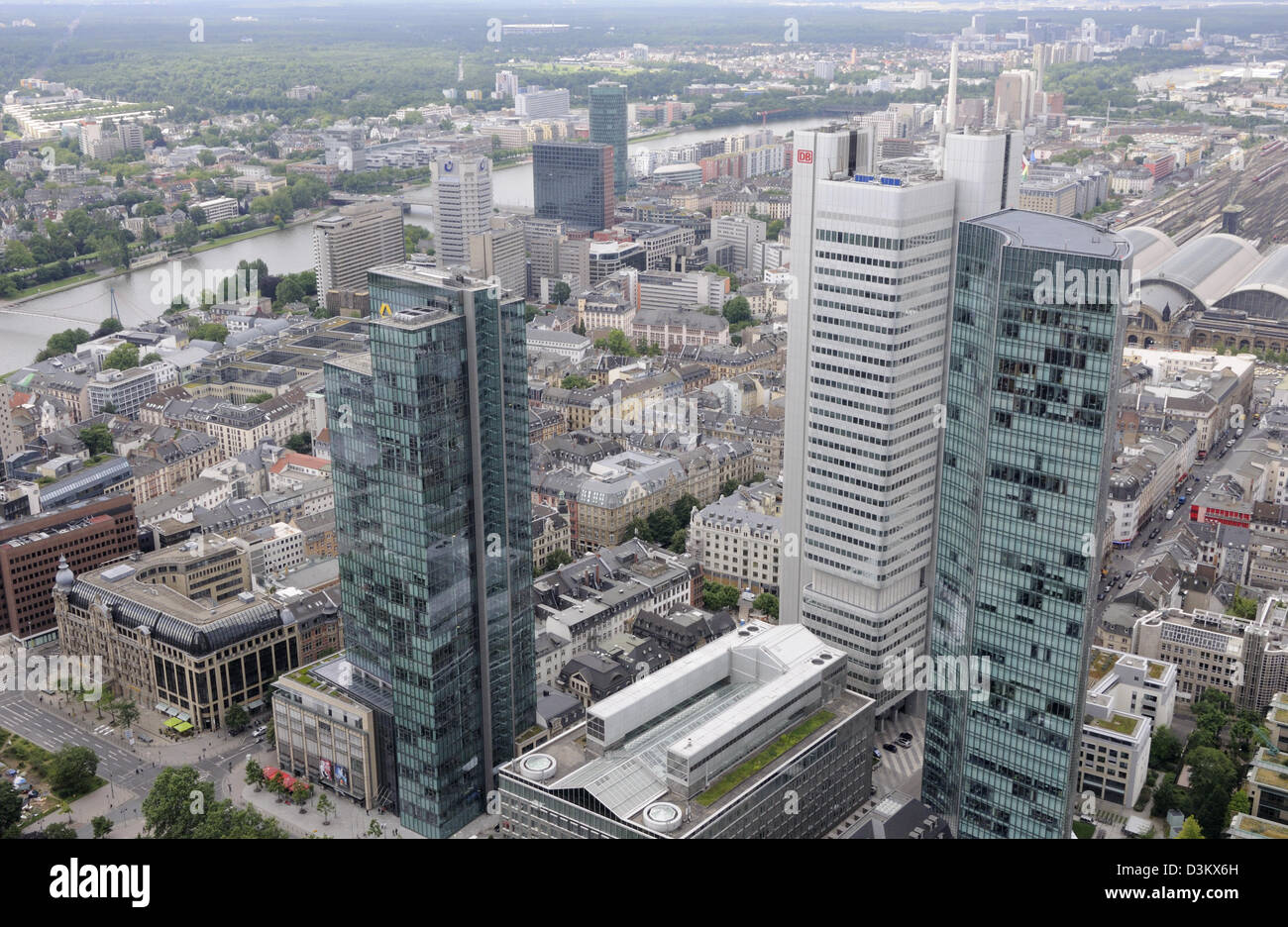 Looking south towards the river Main from the top of the Main Tower, Frankfurt, Germany. Stock Photo
