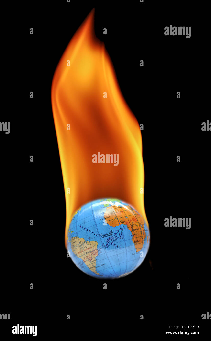 Planet earth on fire Digital Composite - Stock Image