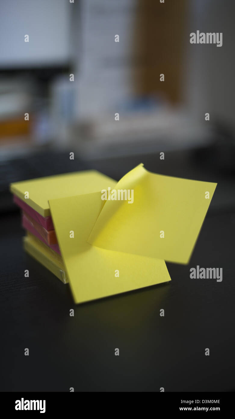 Stack of post-it notes in different colors - Stock Image