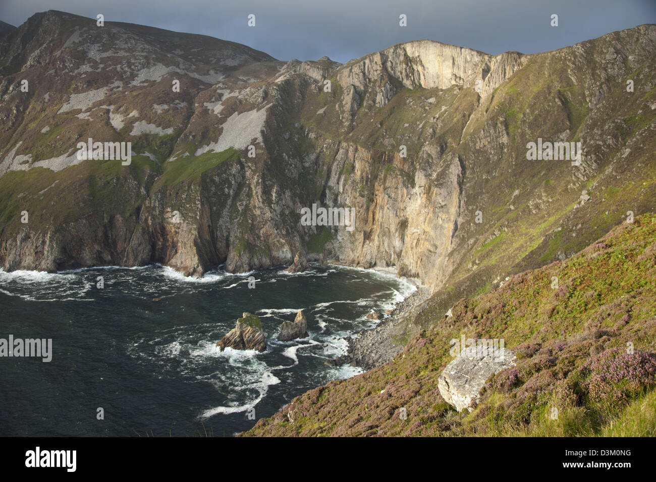 View across the Slieve League cliffs from Bunglas, County Donegal, Ireland. - Stock Image