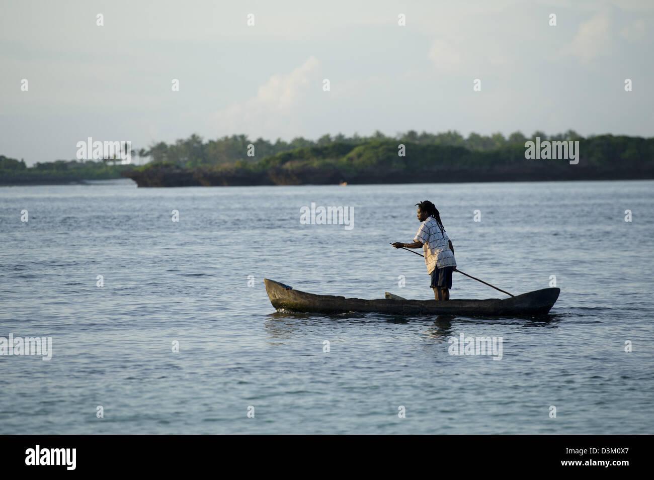 Dugout canoe, Turtle Bay, Watamu, Kenya - Stock Image