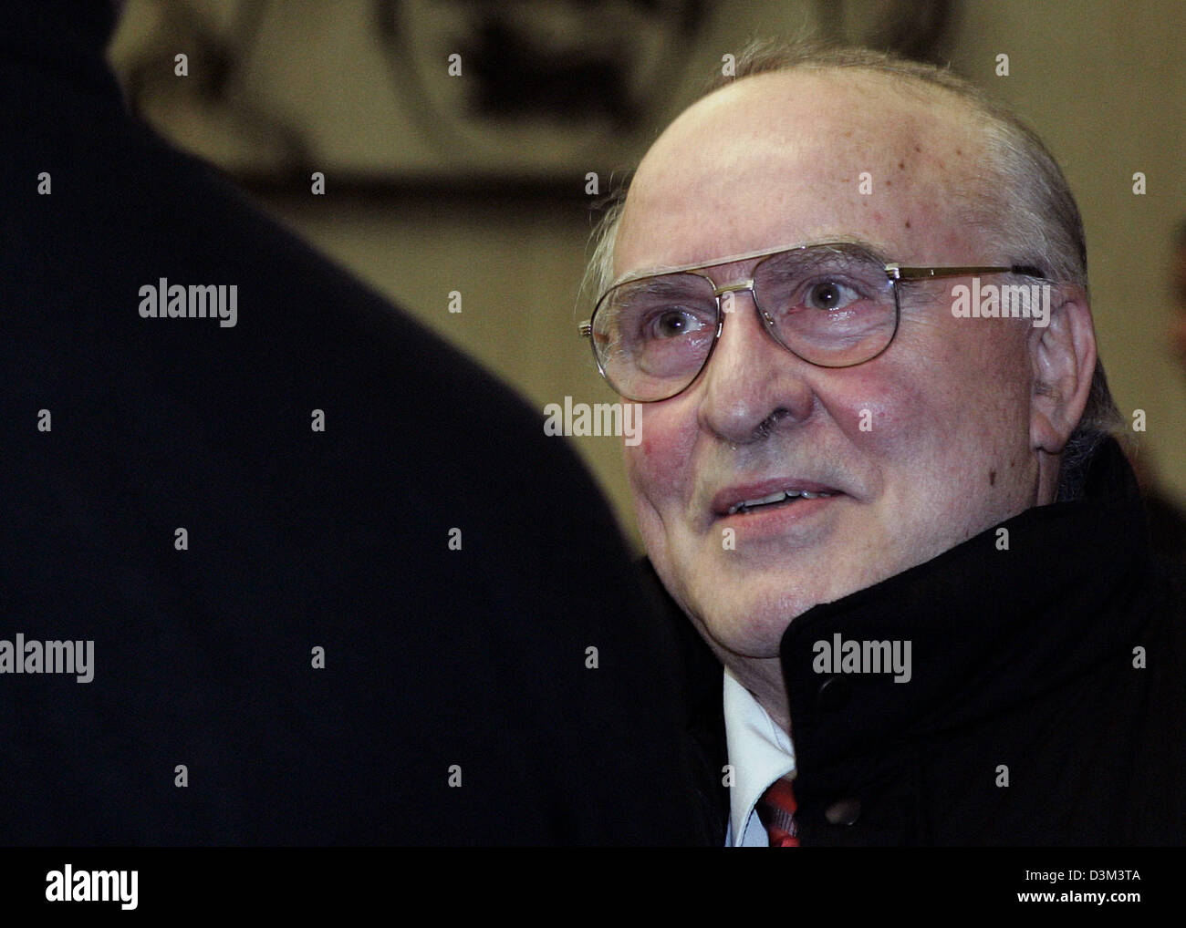 (dpa) - Denier of the Holocaust, Ernst Zuendel, arrives in the court hall of the Regional Court in Mannheim, Germany, Stock Photo
