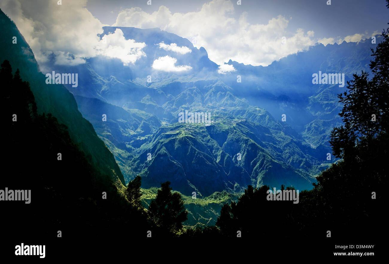 """View from """"La Fenetre""""(window in French) into Cirque de Cilaos, Reunion Island - a French oversea department in Stock Photo"""