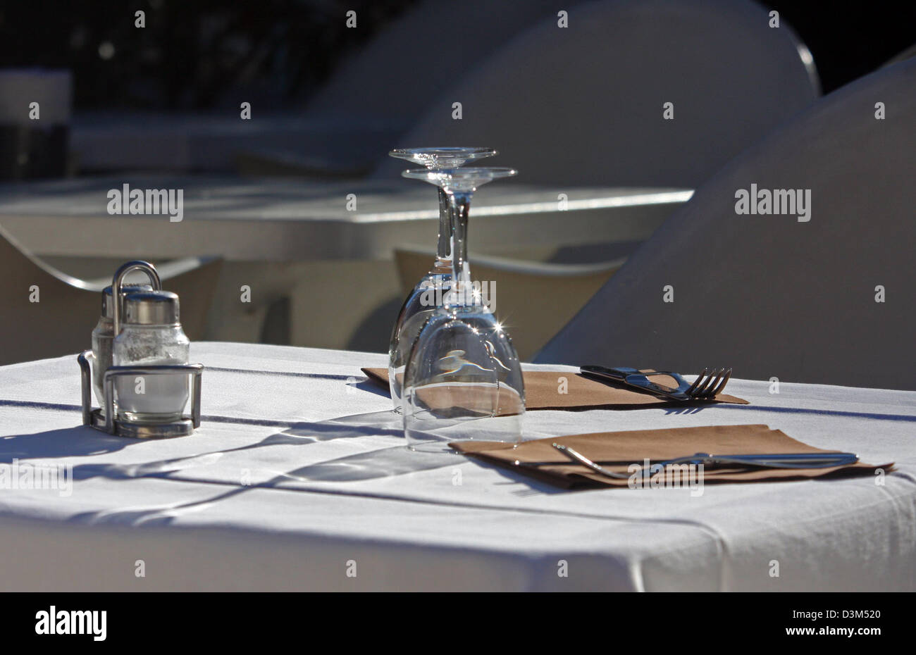 Set table at a restaurant, Italy, Lombardy, Lake Como - Stock Image
