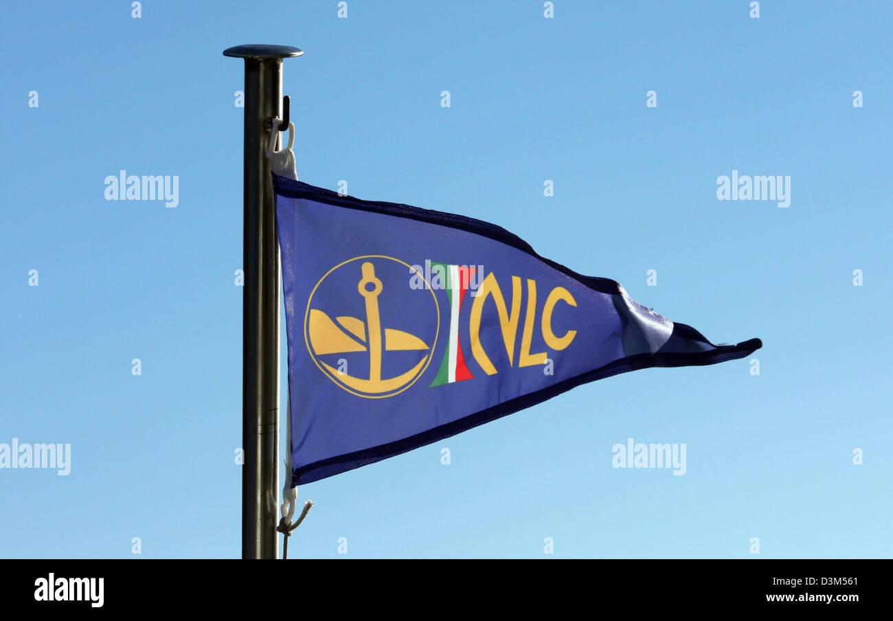 The flag and logo of 'Noutica Lago Como shipping company at Lake Como, Italy - Stock Image
