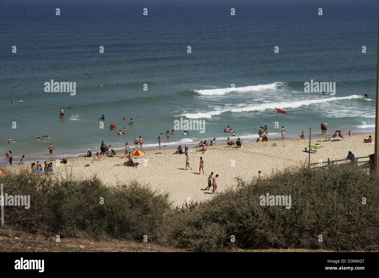 Askelon beach as seen from the National Park - Stock Image