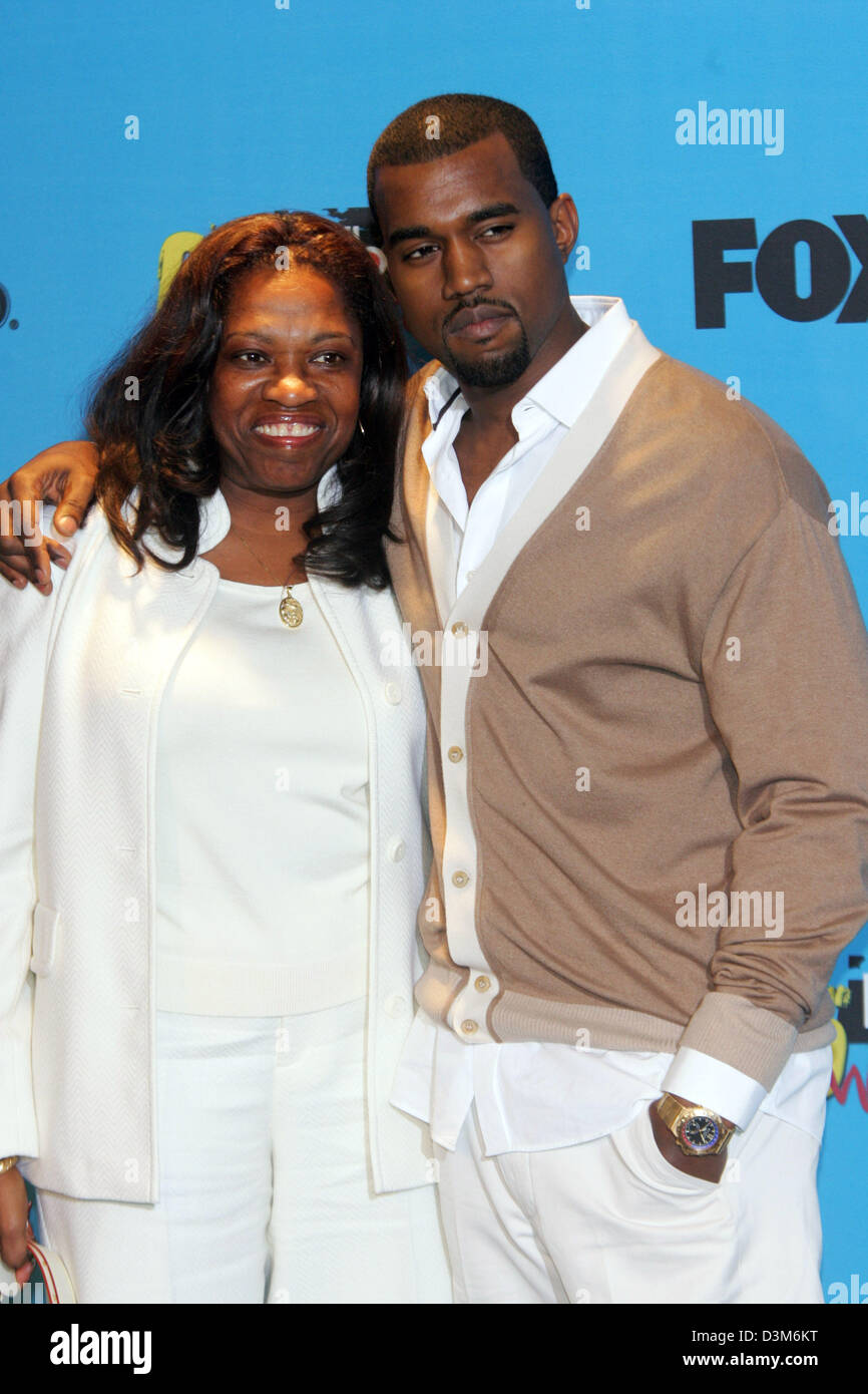 US singer and musician Kanye West (R) and his mother Donda pose together at the MGM  Grand Hotel in Las Vegas, USA, - Stock Image