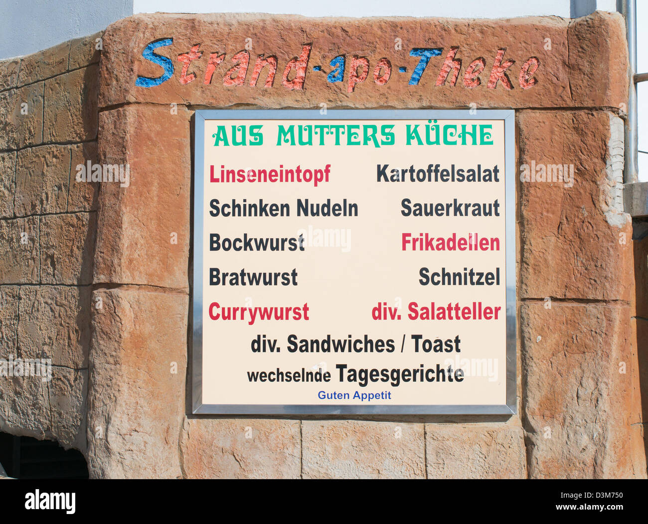 German run café Aus Mutters Kuche in Meloneras, Maspalomas, Gran Canaria - Stock Image