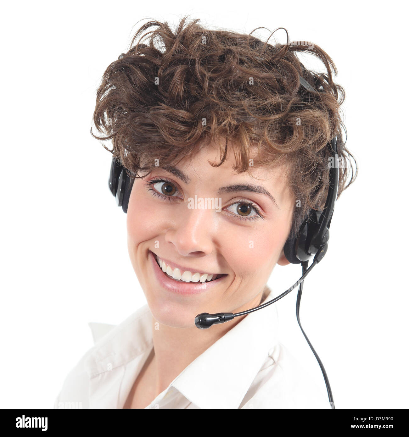 Beautiful and happy telephonist woman in a white isolated background Stock Photo