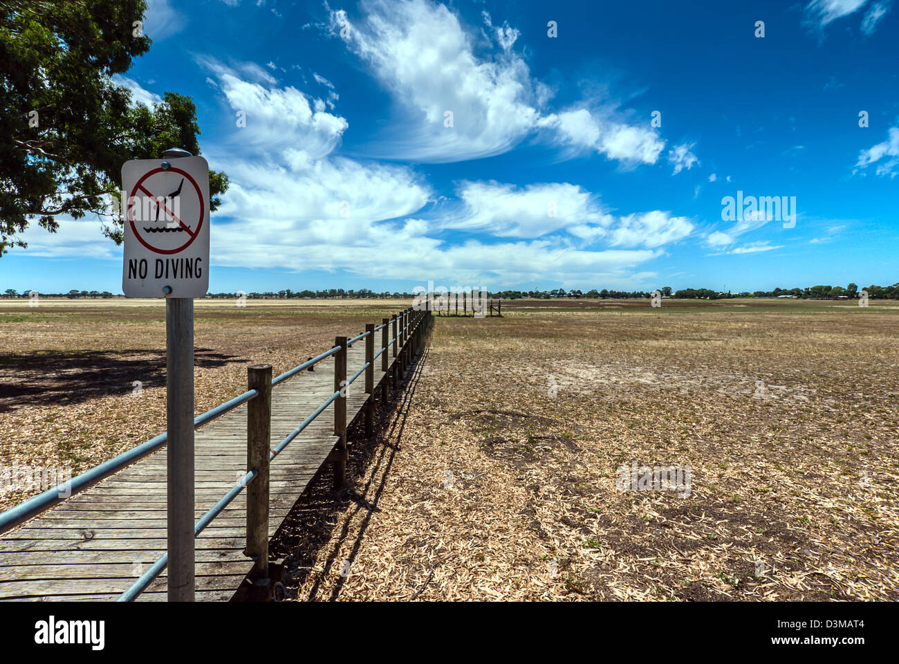 Lake Wallace dried up during a drought in Australia. - Stock Image