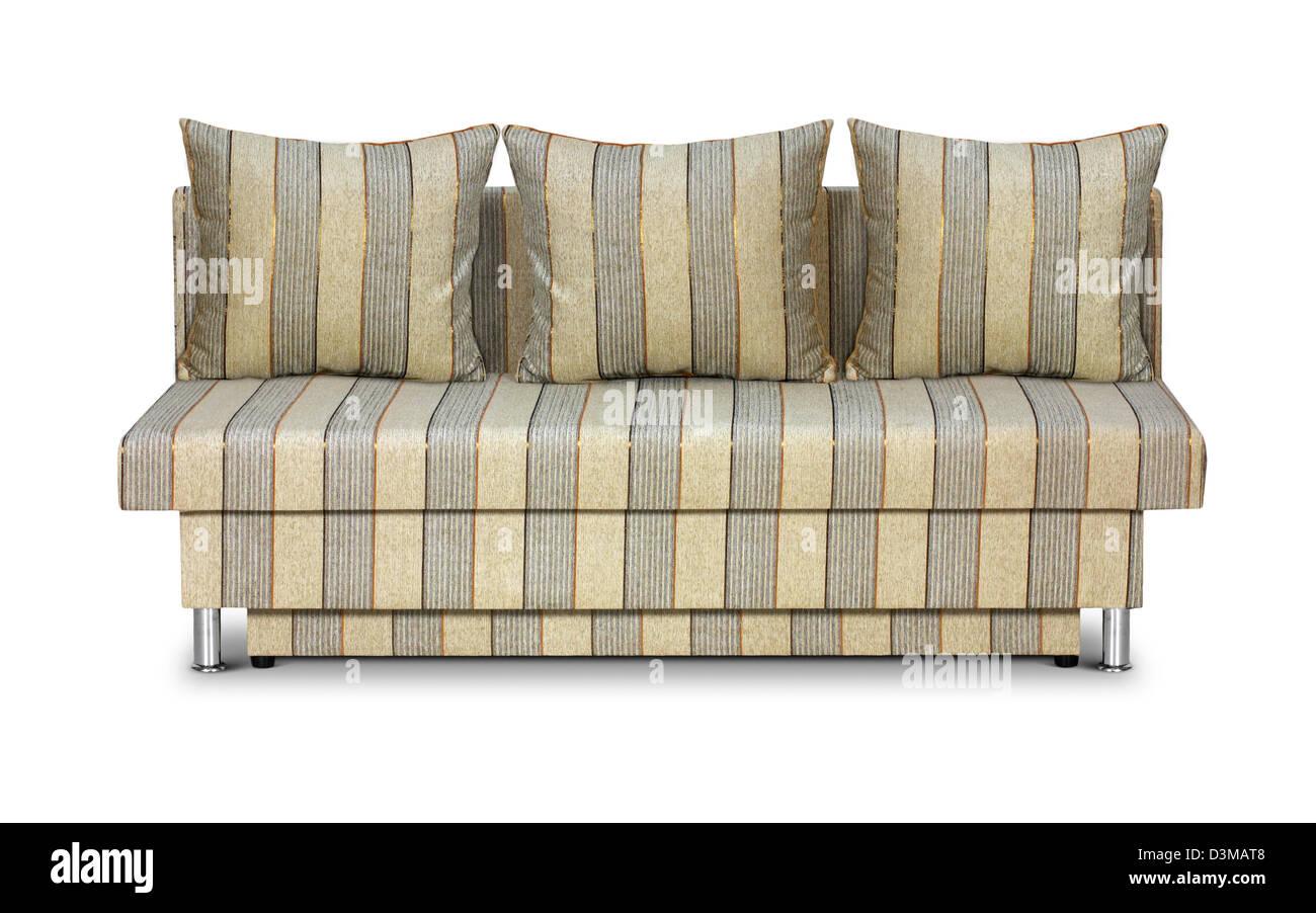 Striped sofa isolated on white - Stock Image