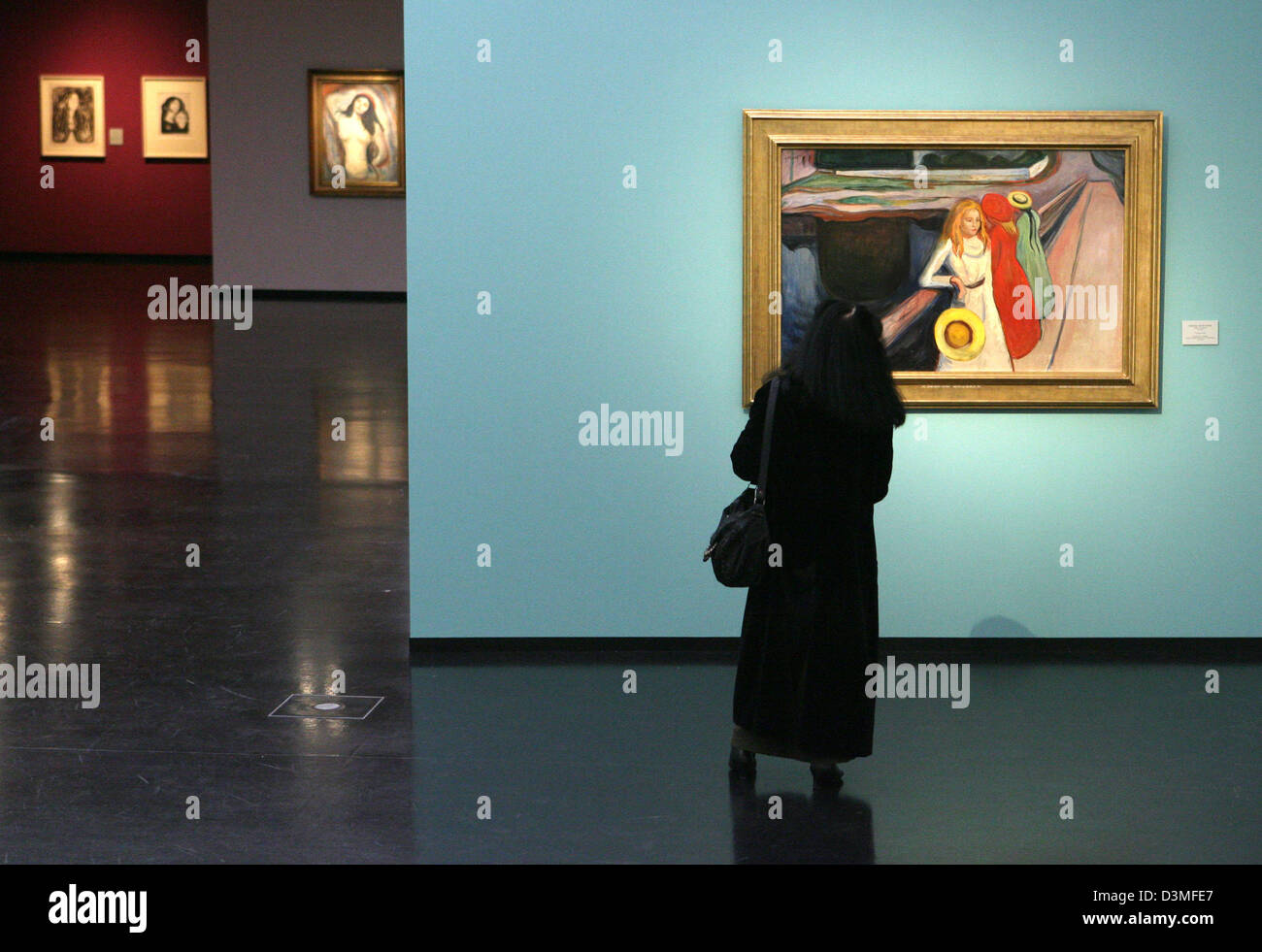A women tours through the exhibition  '...aus dem modernen Seelenleben' (the modern life of the soul) featuring Stock Photo