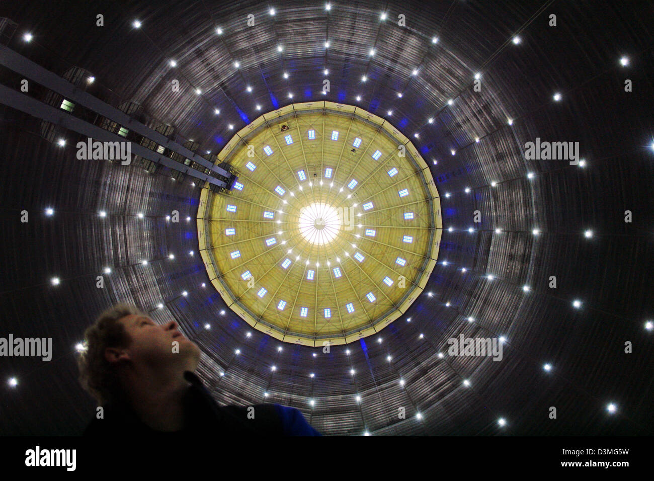 The picture shows the audiovisual installation 'Fire Light Sky' by artist Christina Kubisch at the gasometer - Stock Image