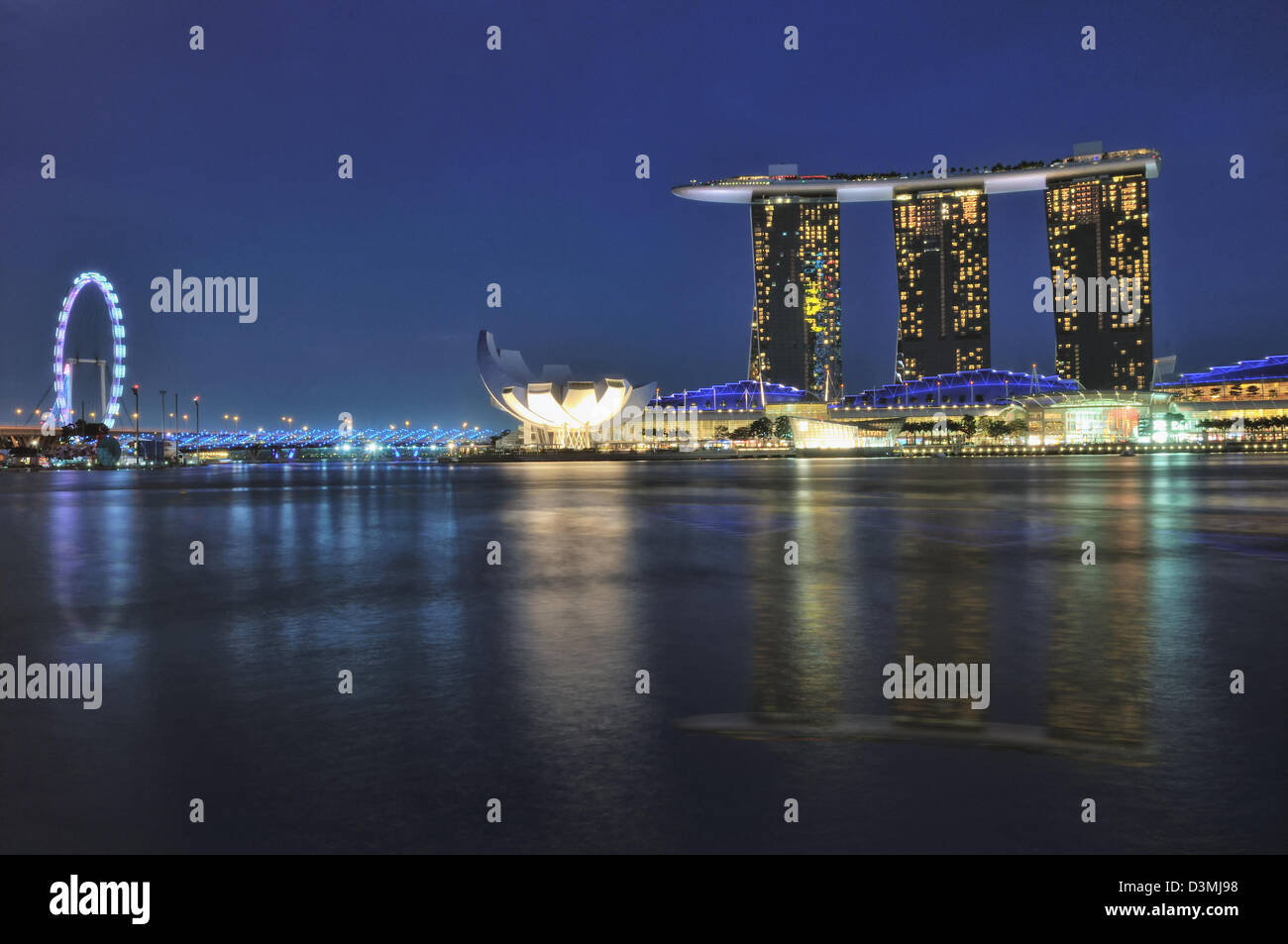 The photo shows the iconic Marina Bay Sands Hotel and Integrated Hotel, home to Singapore's second casino. - Stock Image