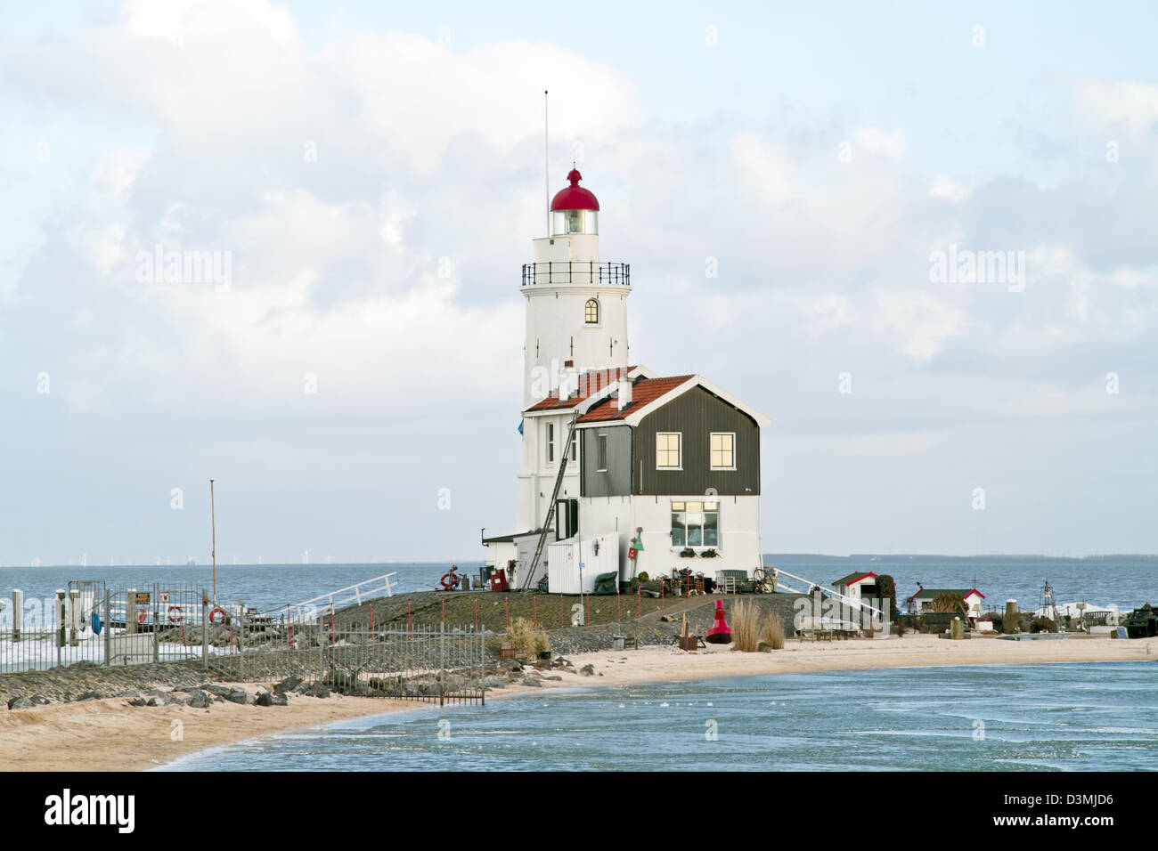 Lighthouse from Marken in the Netherlands - Stock Image