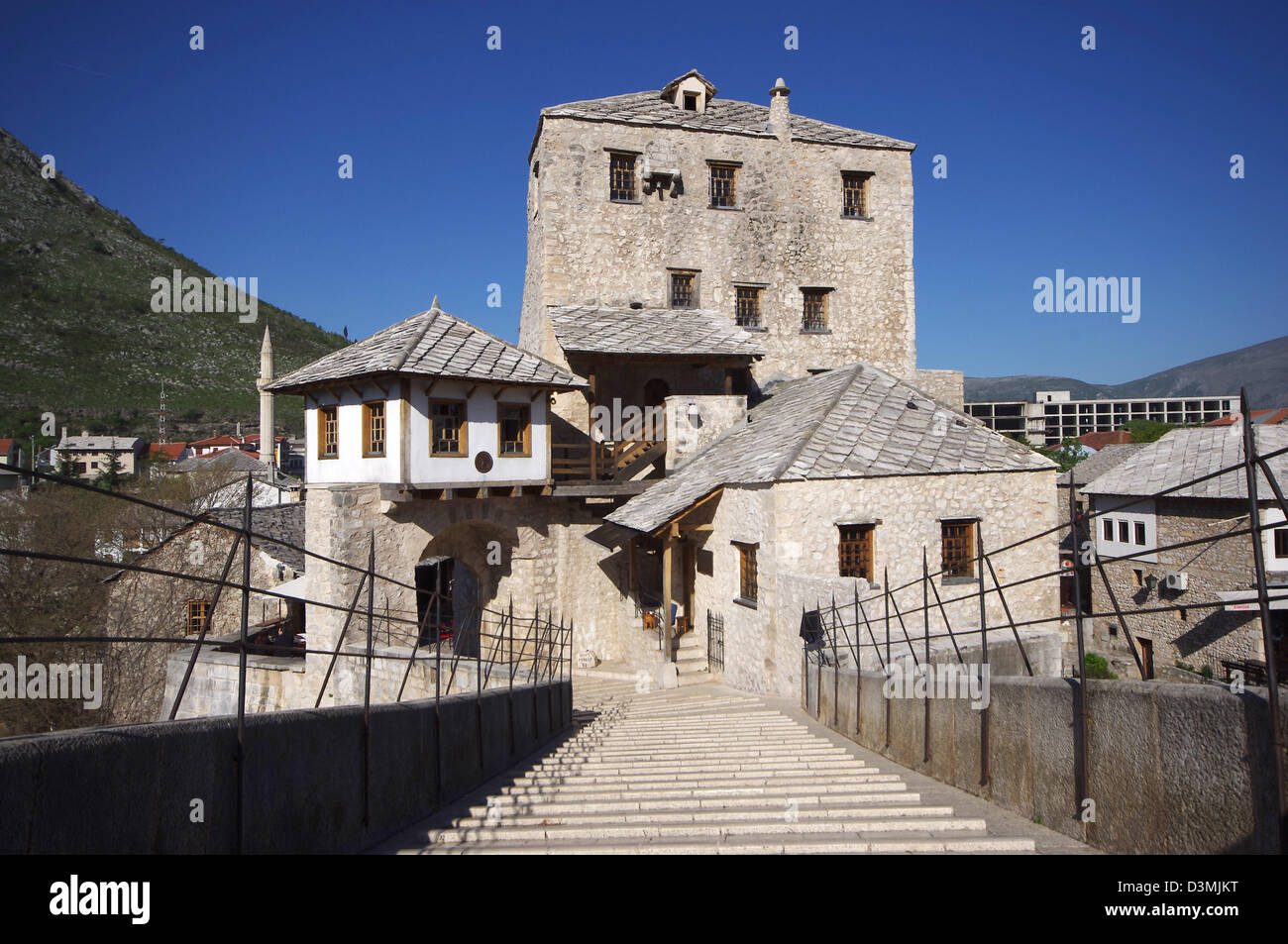 Old Bridge - built 16Th century in Mostar, Bosnia and Herzegovina. Crosses the river Neretva connects Moslems and - Stock Image