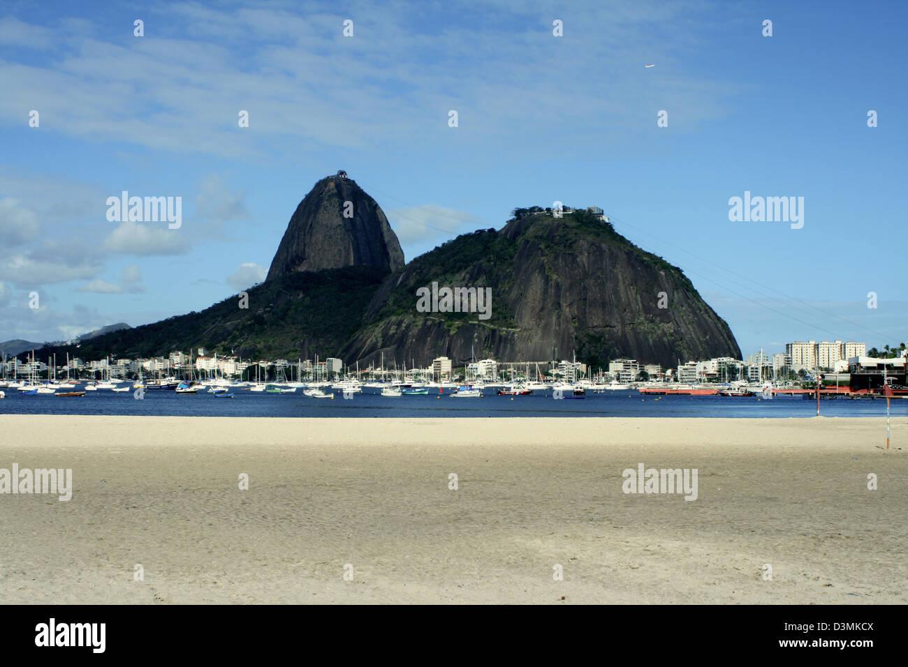 View of Sugar Loaf and Botafogo´s beach in Rio de Janeiro Stock Photo