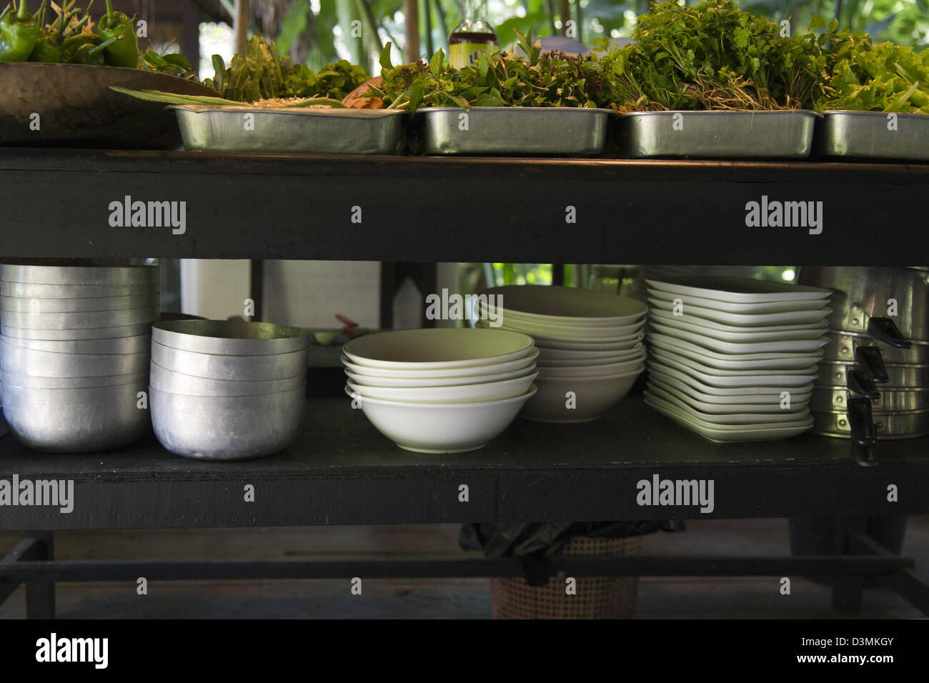 Bowls, plates and pots and platters of ingredients in an outdoor kitchen near Luang Phrabang - Stock Image