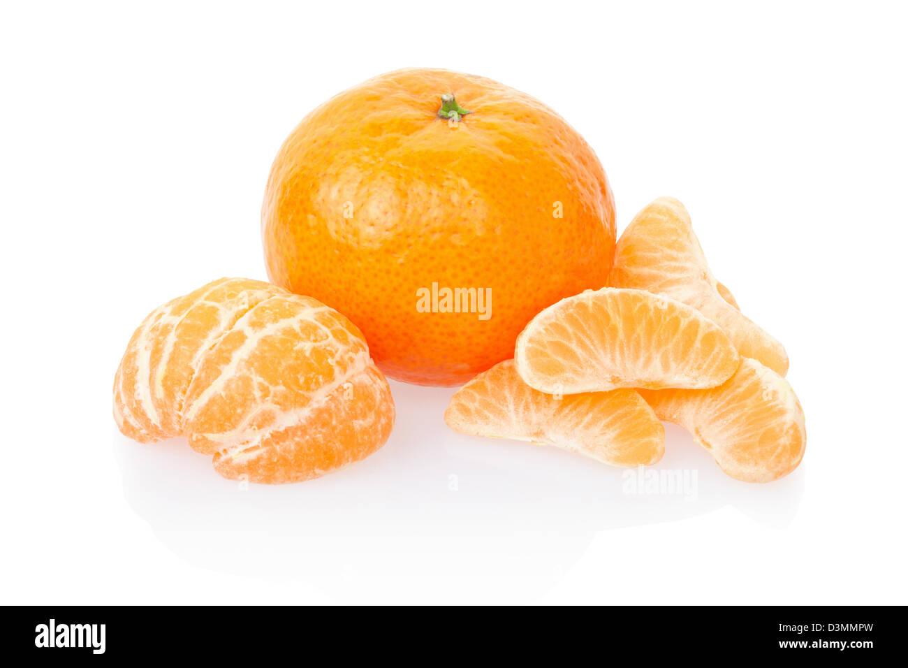 Tangerine or mandarin and segments - Stock Image