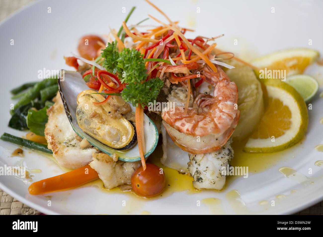 Seafood in Ubud, Bali - Stock Image