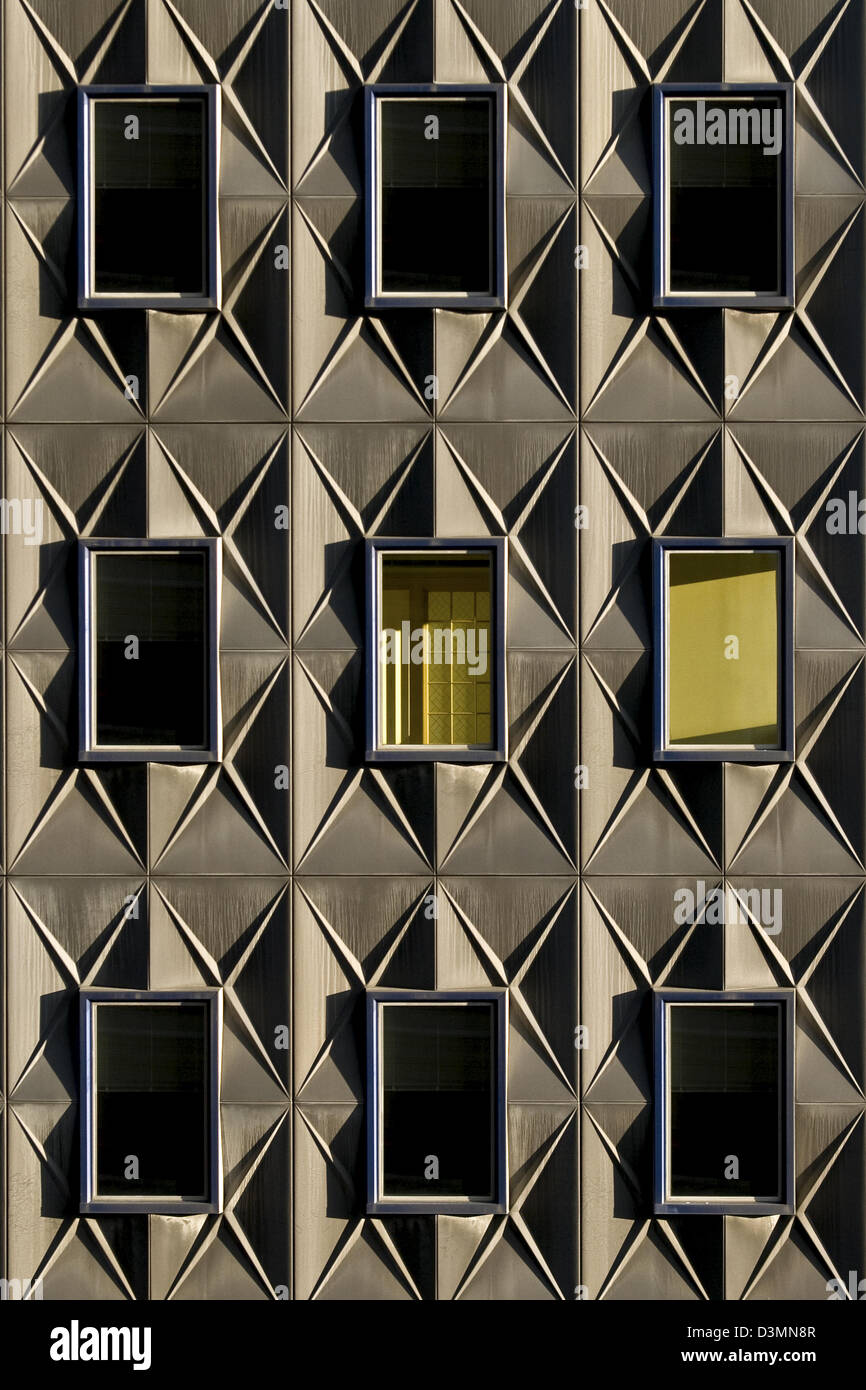 A colorful geometric set of windows on a Pittsburgh, Pennsylvania building. - Stock Image