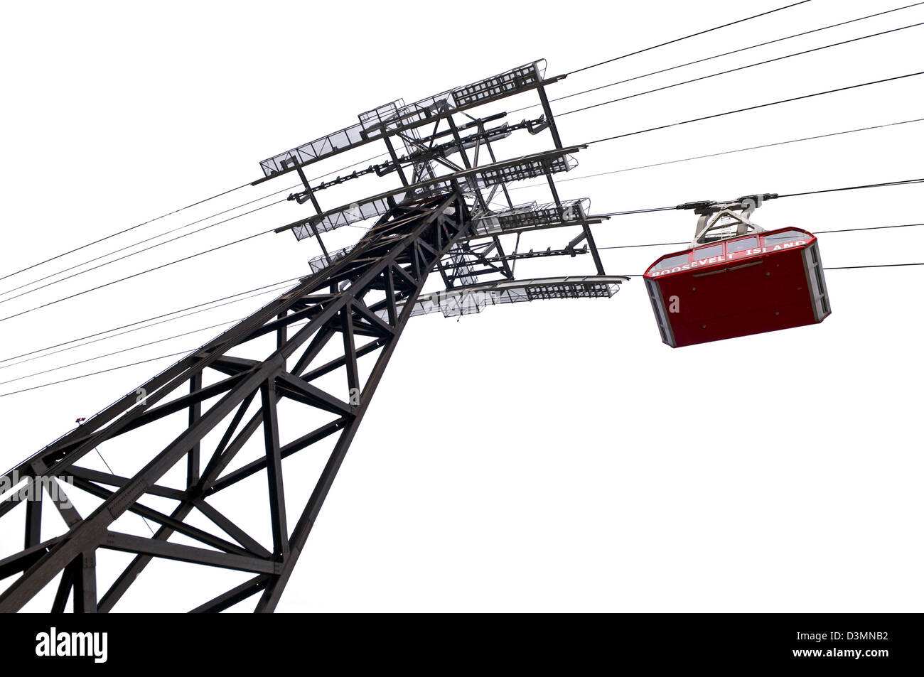 A graphic, from below view of the Roosevelt Island Tram. Stock Photo