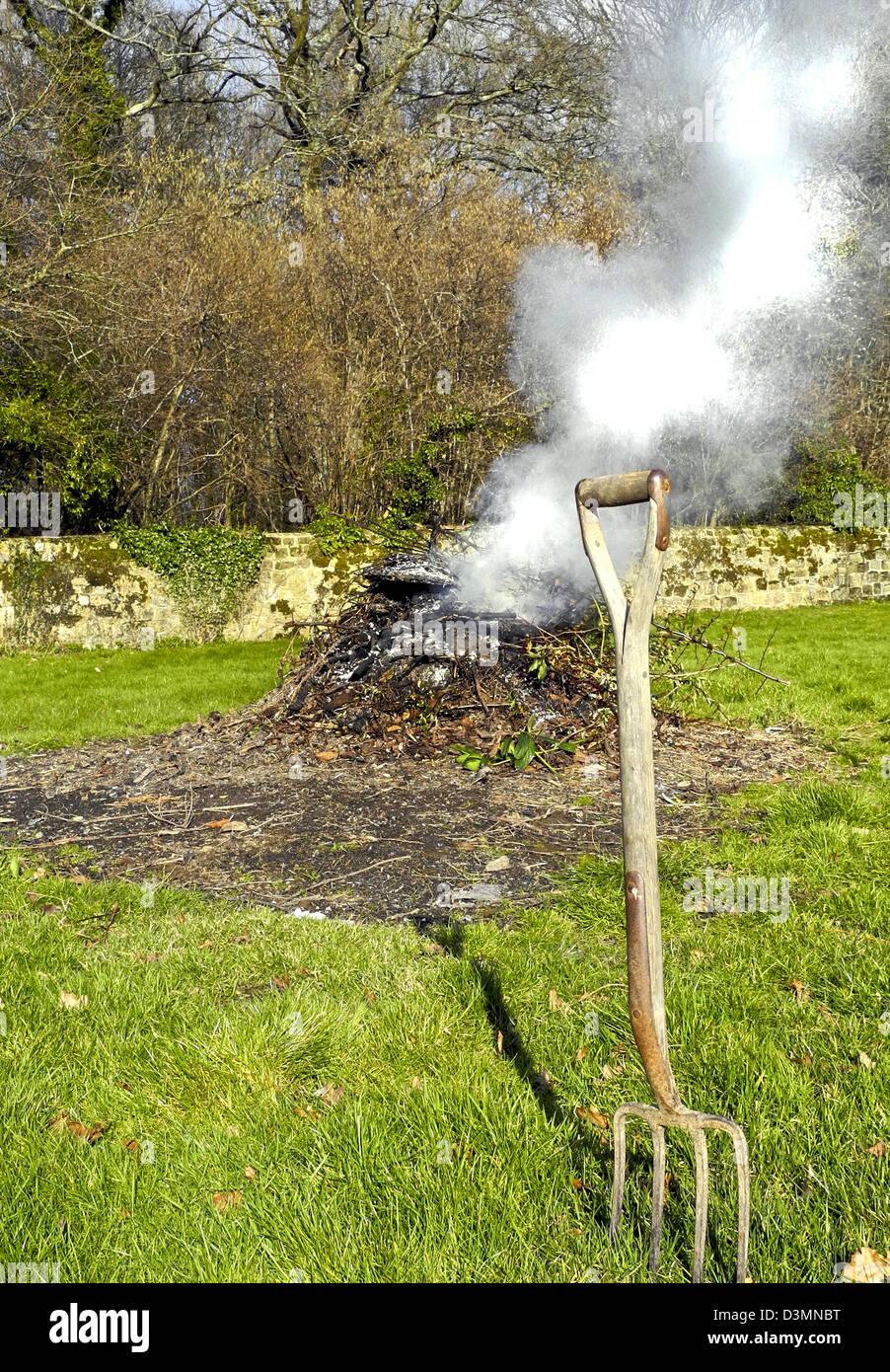 A garden bonfire - burning garden waste - Stock Image