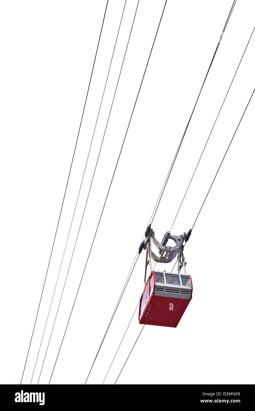 A graphic, from below view of the Roosevelt Island Tram. - Stock Image