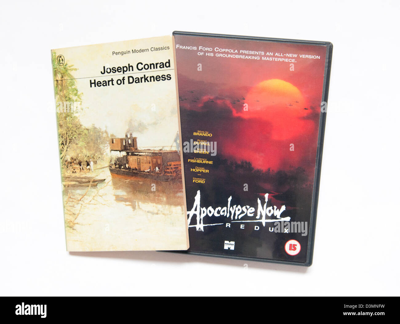 Heart Of Darkness by Joseph Conrad and the DVD of Apocalypse Now which was adapted from the book. - Stock Image