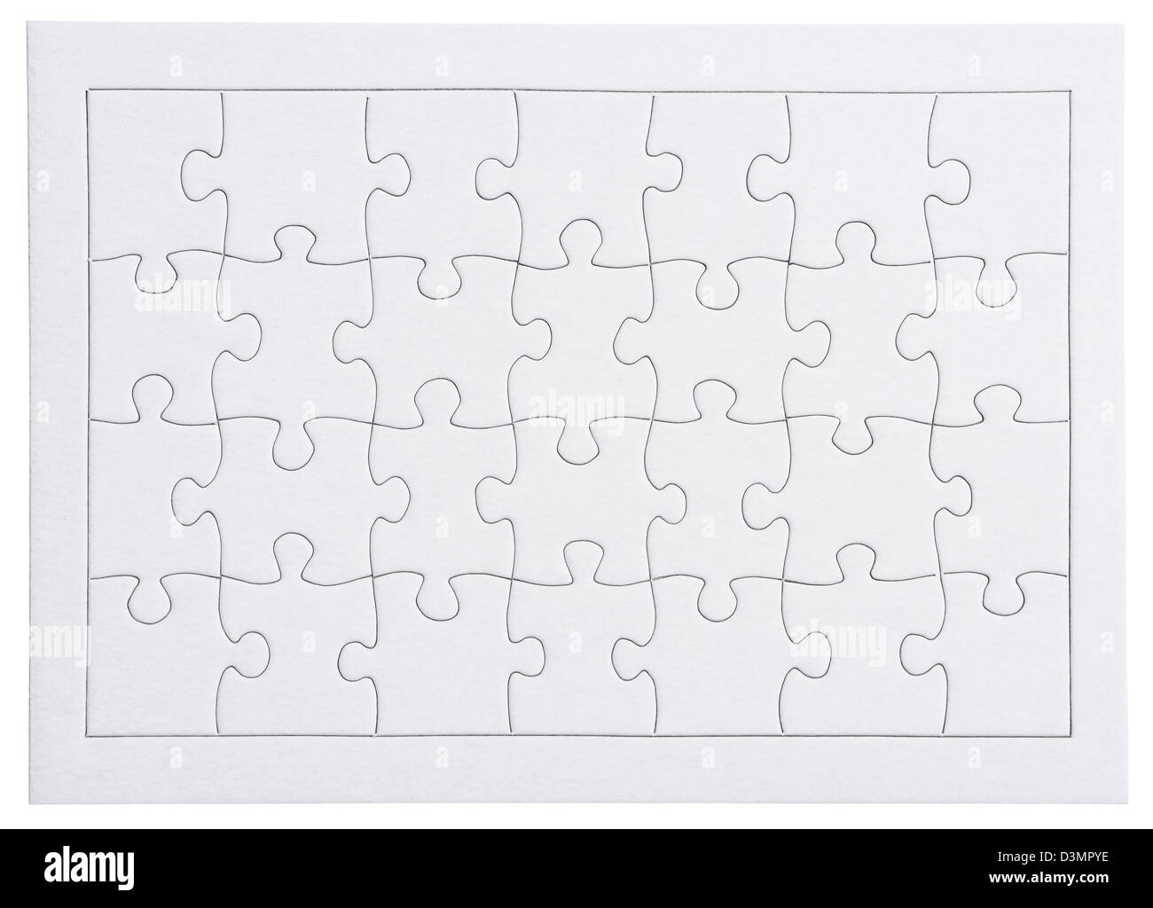 Black and white blank jigsaw outline - Stock Image