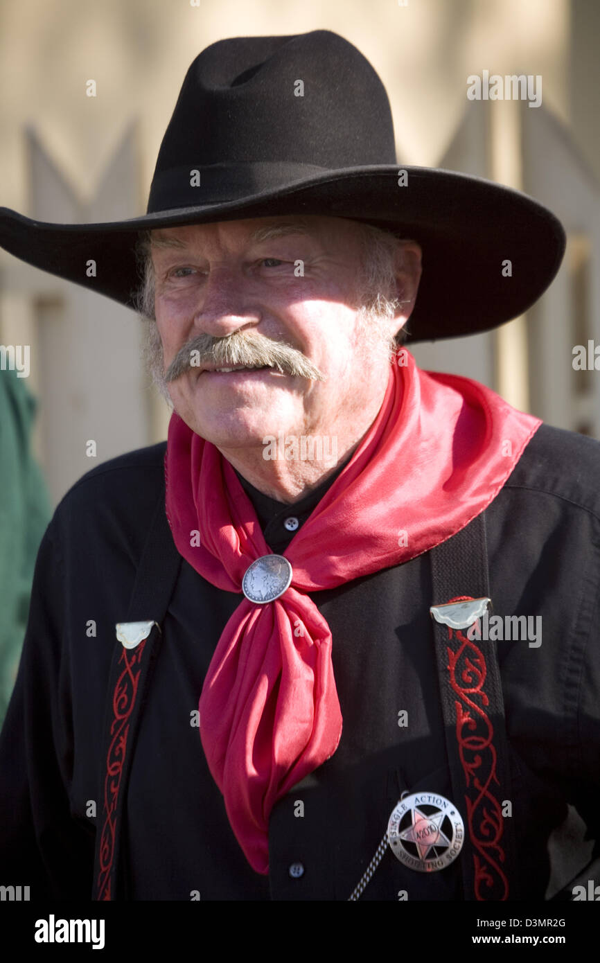 Sheriff costume, Death Valley 49er Encampment Parade, Death Valley National Park, CA, USA - Stock Image