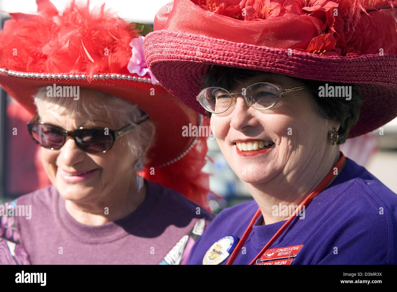 Big red hats, Death Valley 49er Encampment Parade, Death Valley National Park, CA, USA - Stock Image