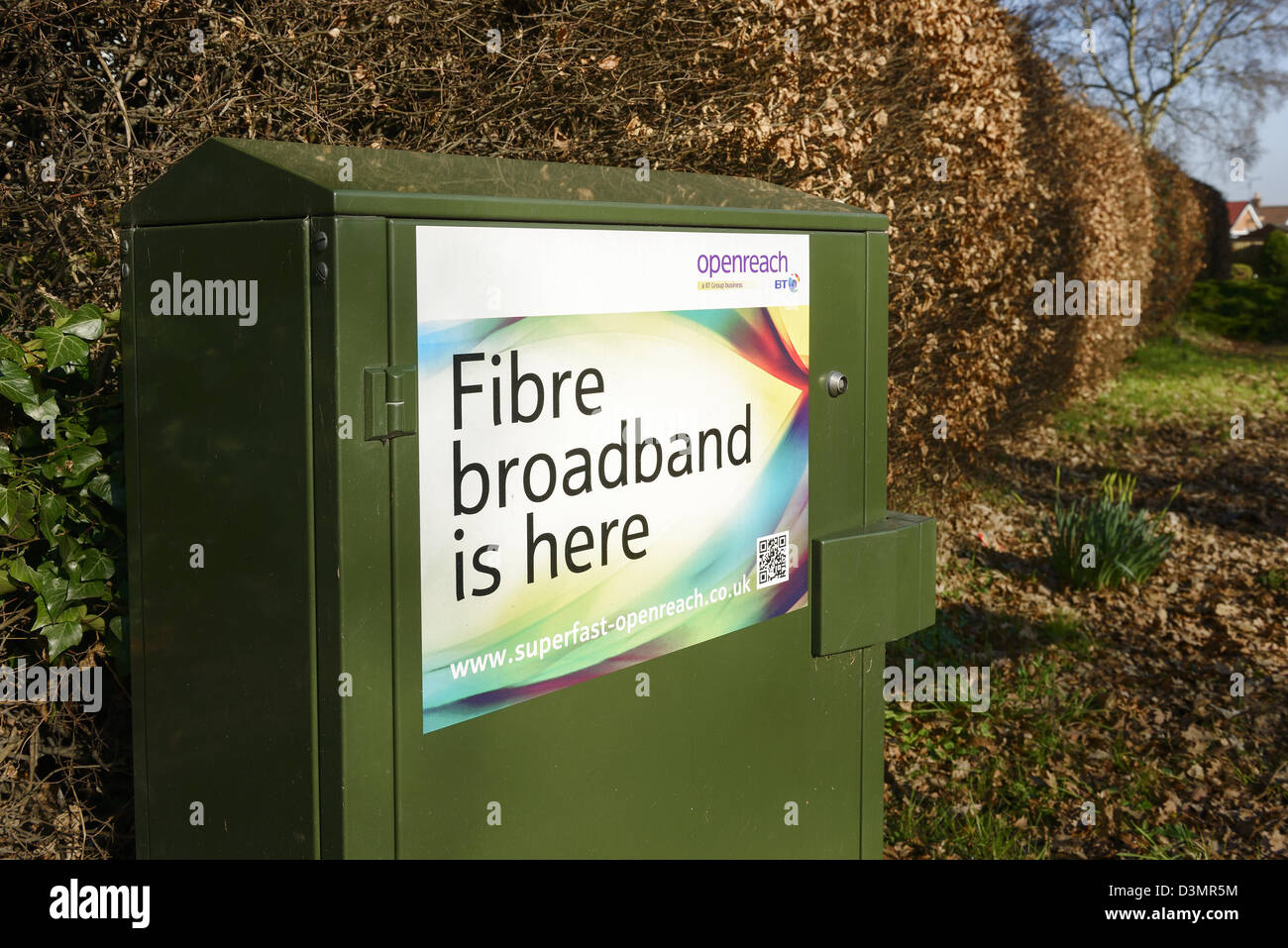 BT Openreach Fibre Optic Broadband green cabinet - Stock Image