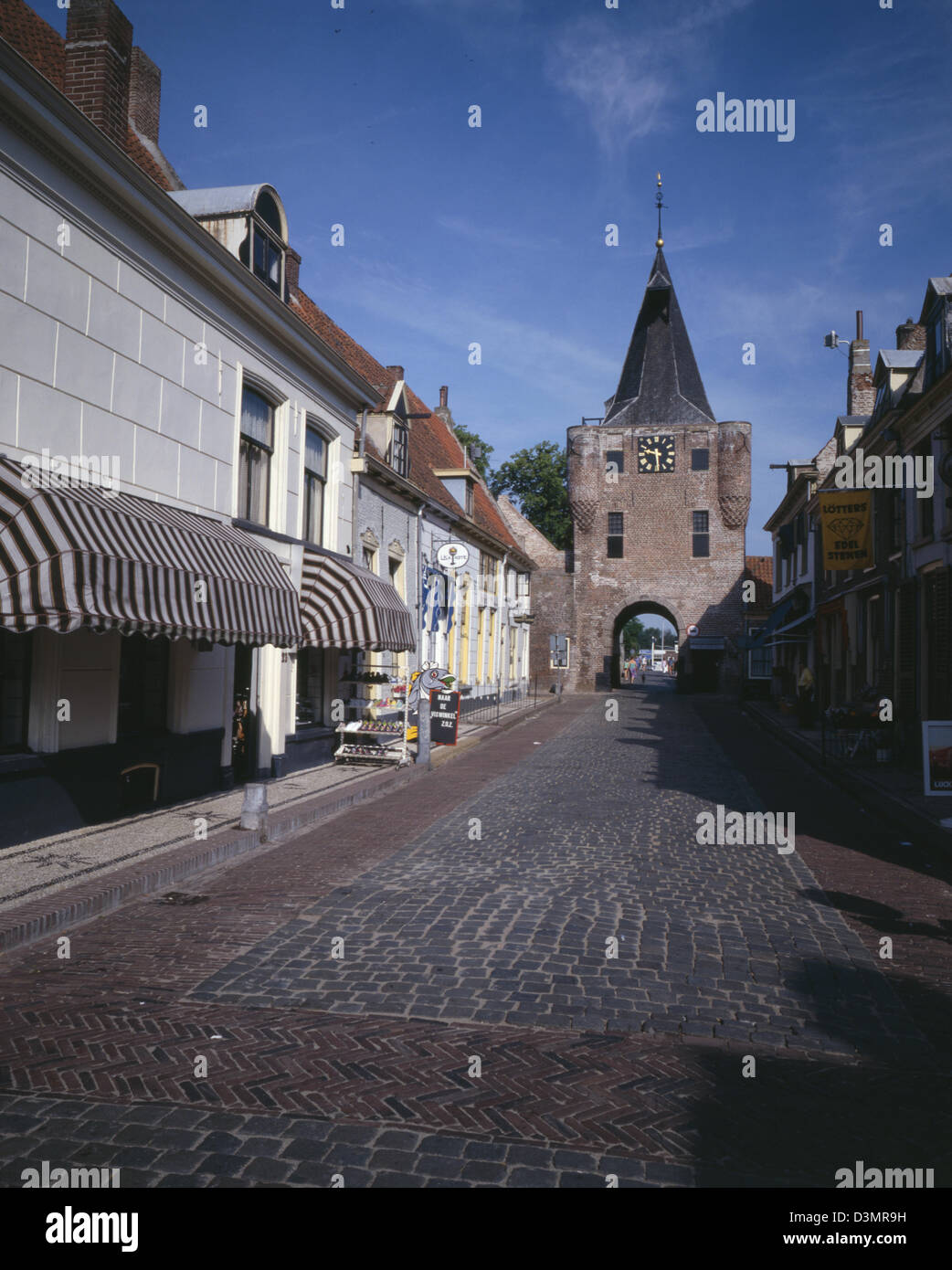 mainstreet in Elburg, Vischpoort, Holland, Netherlands, - Stock Image