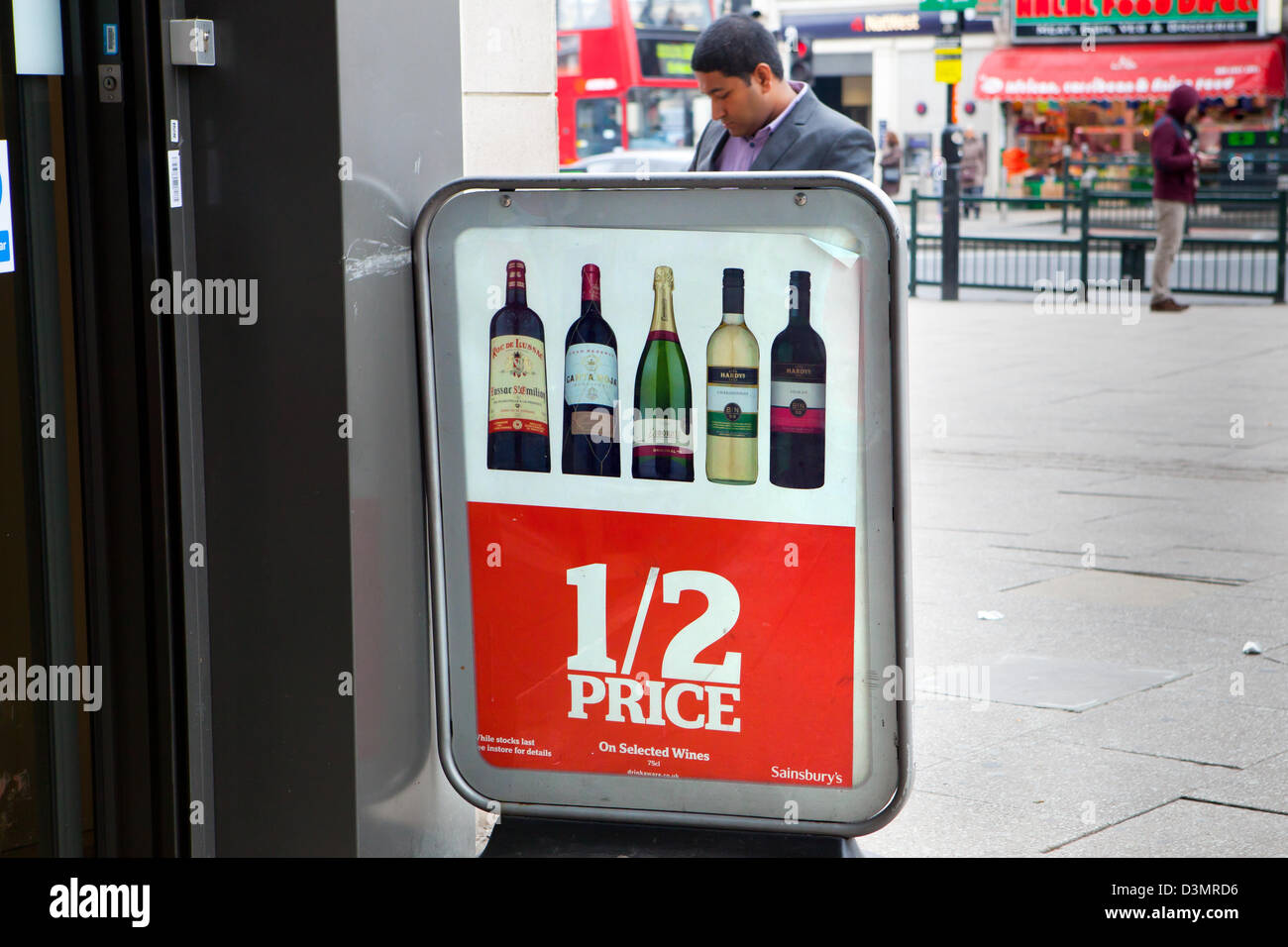 Shop sign for half price wine - Stock Image