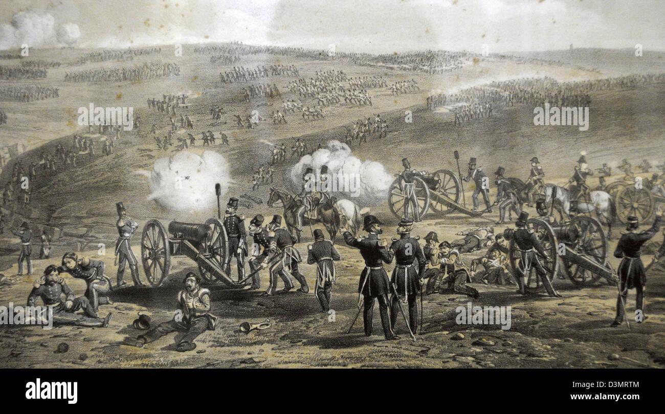 Crimean War (1853-1856). Battle of Inkerman. November 5, 1854. Colored engraving. Museum of Black Sea Fleet. Sevastopol. - Stock Image