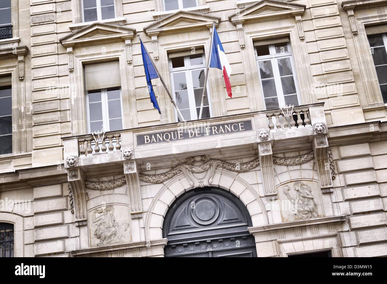 Banque de France on the Rue Croix des Petits-Champs - Stock Image