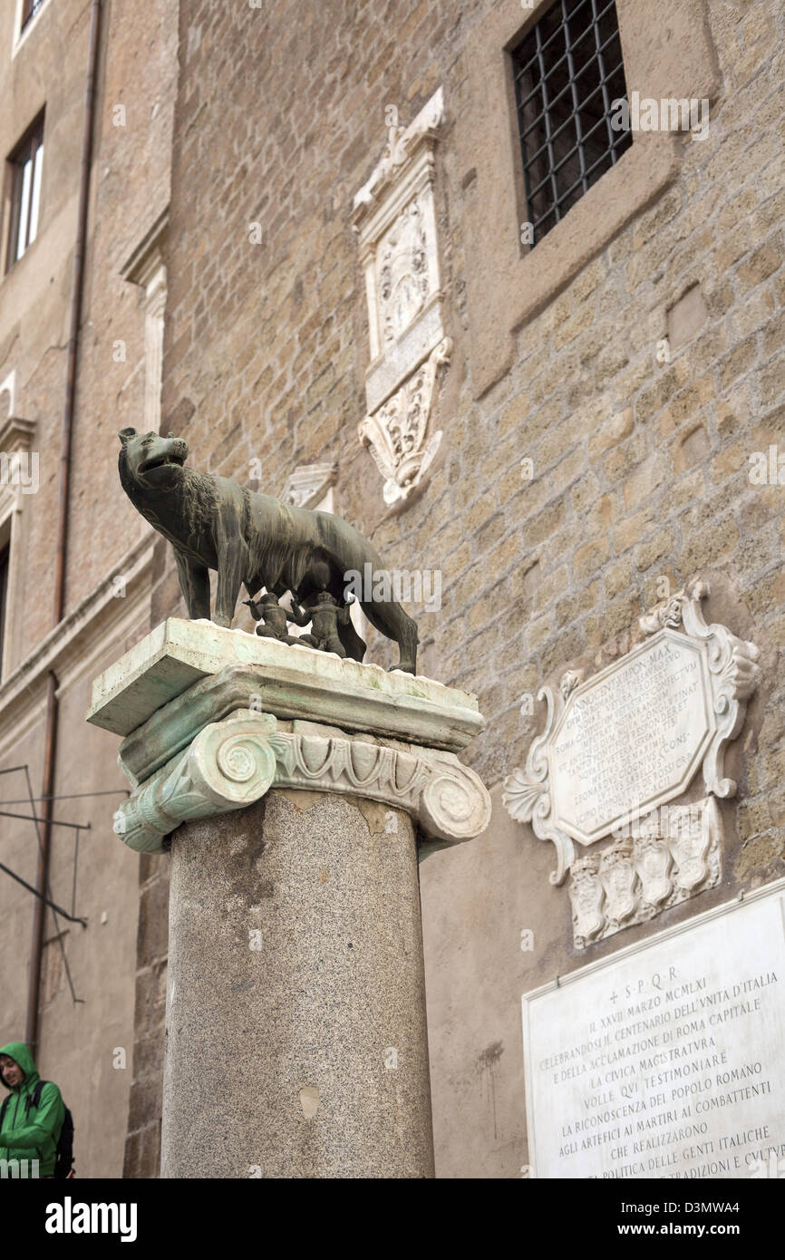 Statue of Romulus and Remus with the she-wolf on the Capitoline Hill in Rome - Stock Image