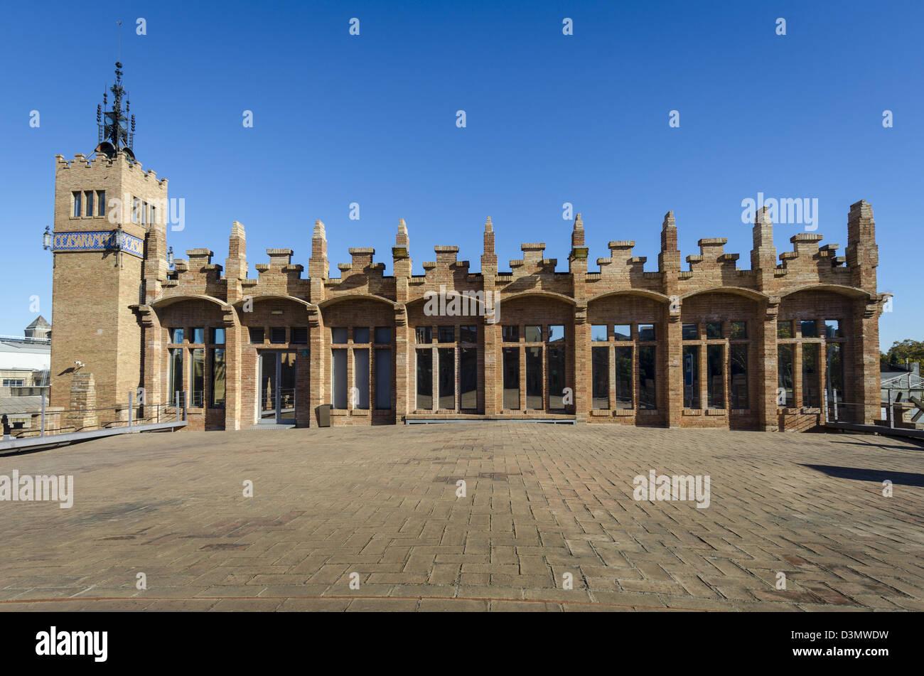 CaixaForum. Modernista Casamarona textile factory by Josep Puig i Cadafalch - Stock Image