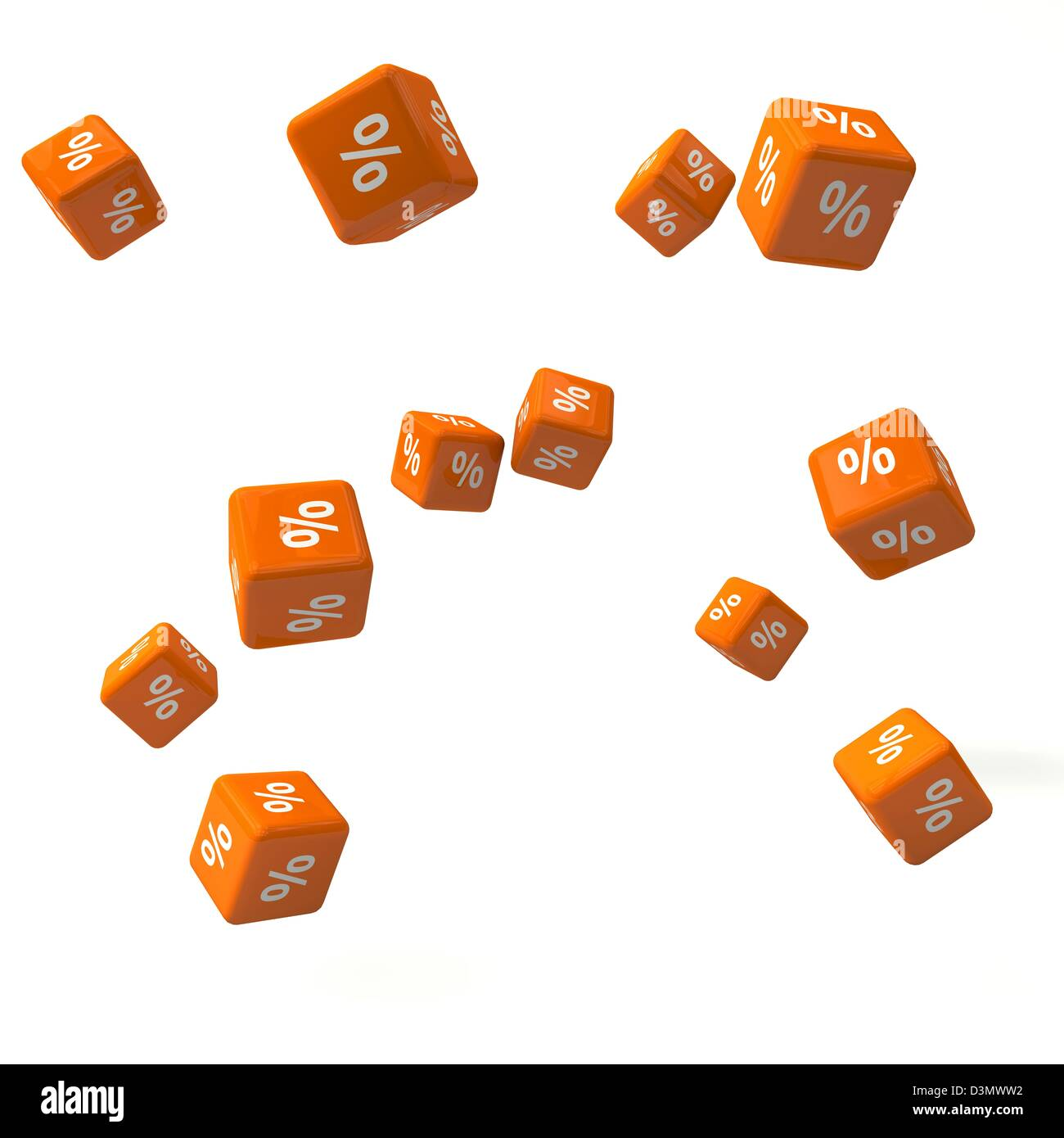 Flying Dice announce the summer sale and have percent signs printed on. - Stock Image