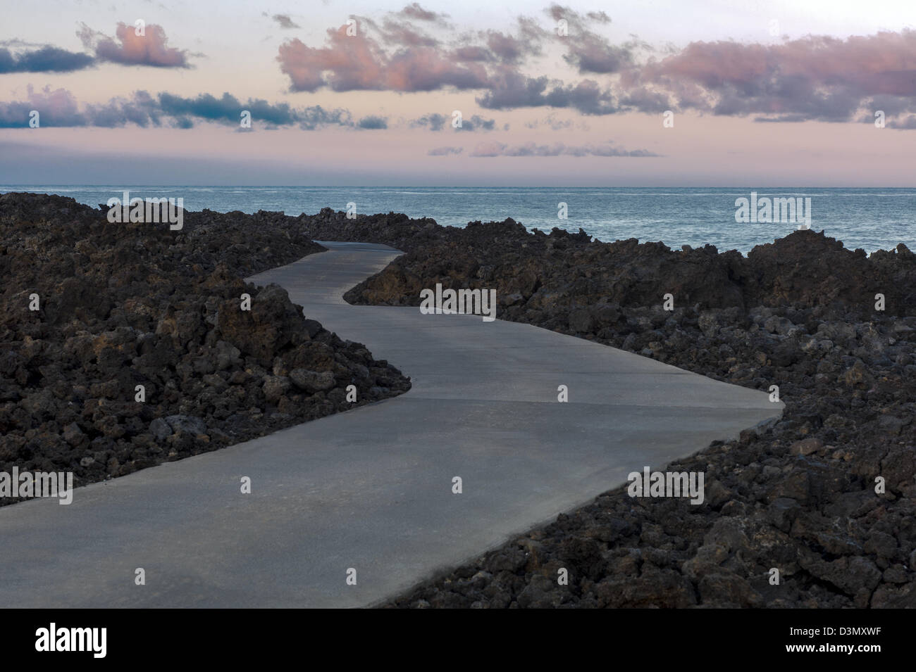 Path along shore of Kohala Coast. The Big Island, Hawaii. - Stock Image