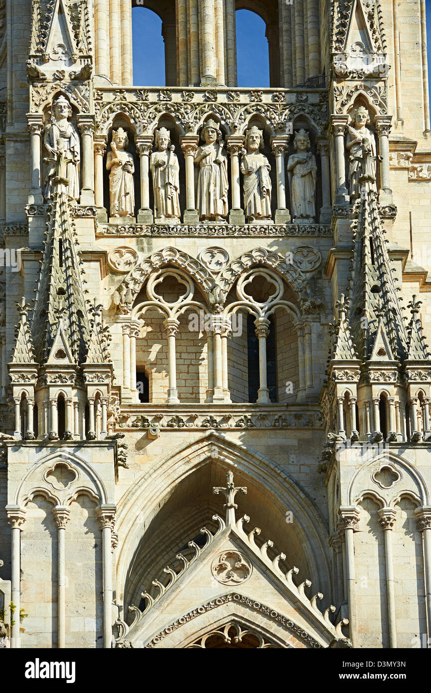 Gothic Statues And The Facade Of Cathedral Notre Dame Amiens France